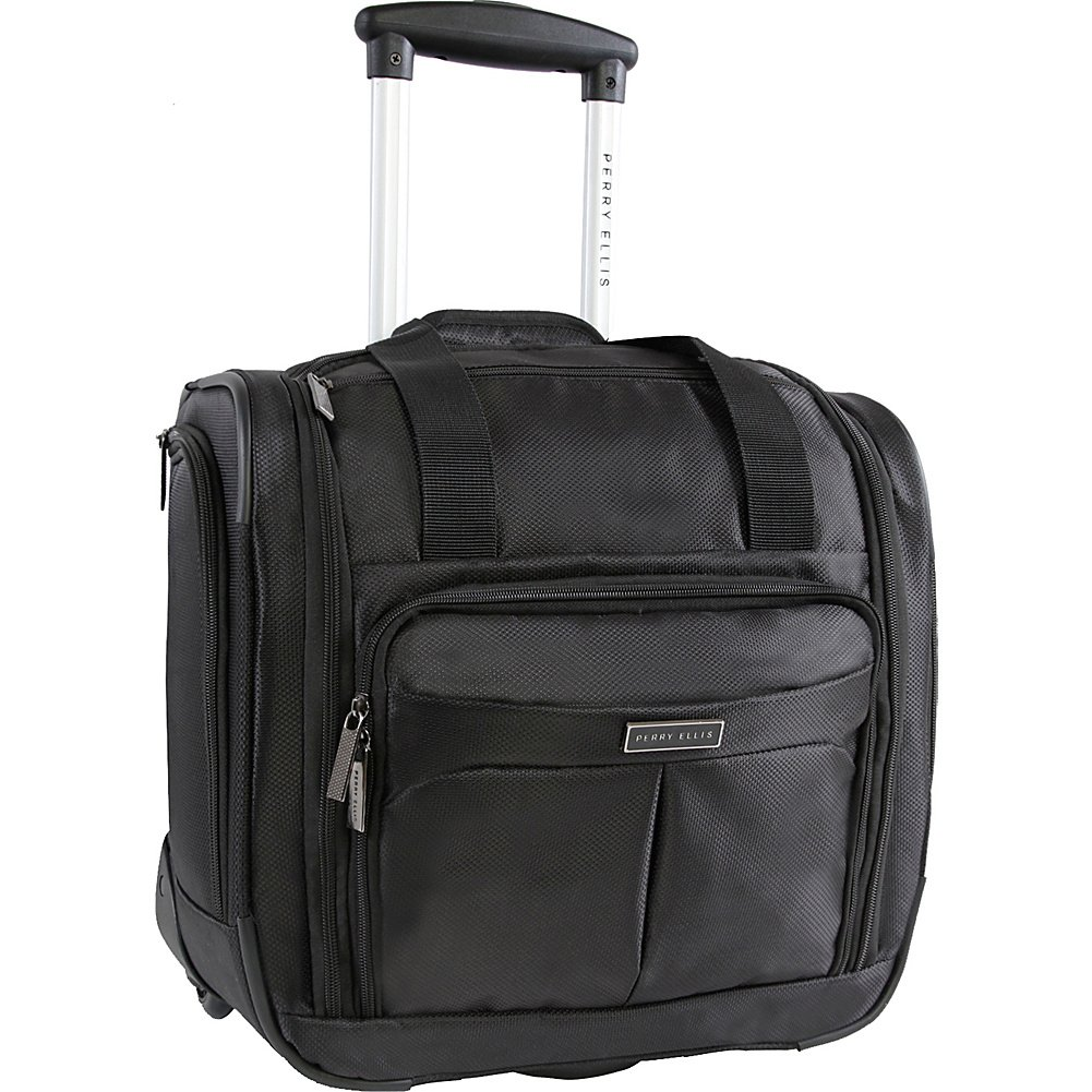 Perry Ellis Men's Excess 9-Pocket Underseat Rolling Carry-on Bag Travel Tote, Black, One Size Perry Ellis Luggage PE-UD-74