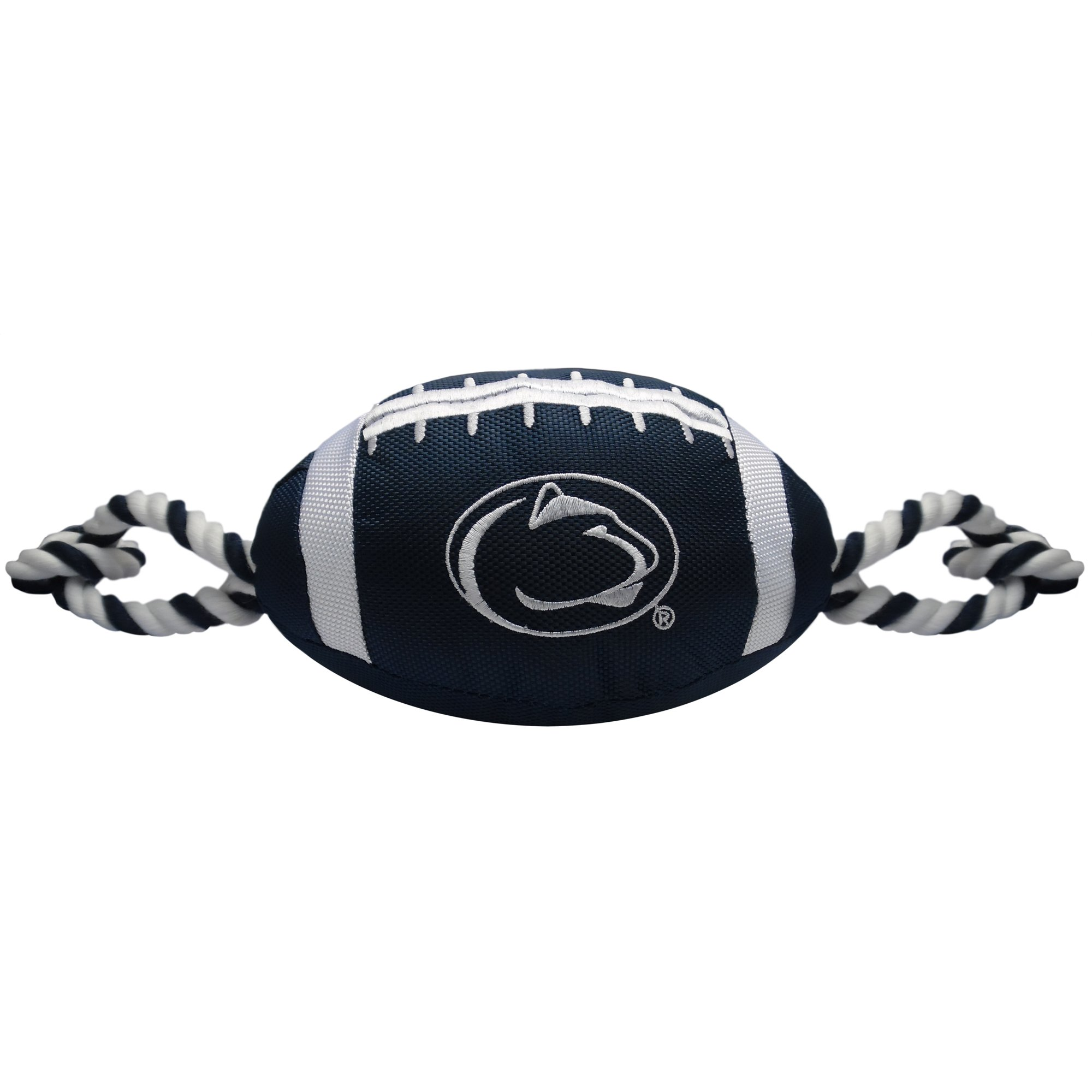 Pets First NCAA Penn State Nittany Lions Football Dog Toy, Tough Quality Nylon Materials, Strong Pull Ropes, Inner Squeaker, Collegiate Team Color
