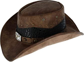 fcf73d8d Kenny K Men's Faux Leather Western Hat with Medallion Detailed Crown