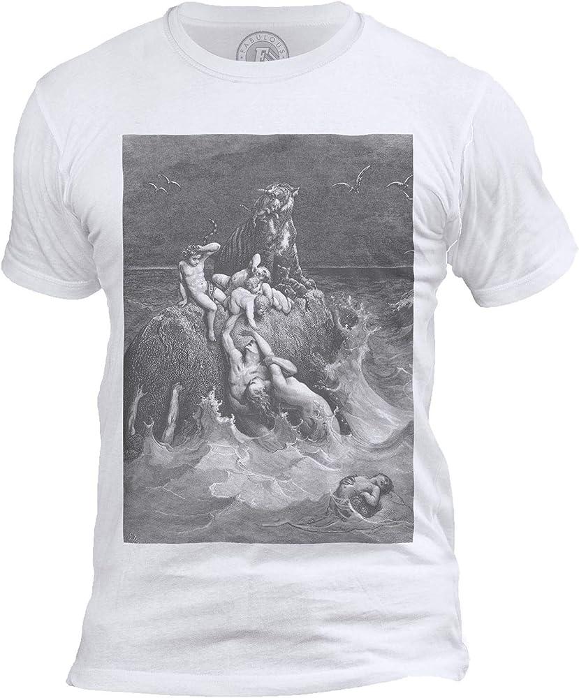 Fabulous – Camiseta para Hombre con Cuello Redondo, diseño del Deluge Antiguo, testamento Bible, Gustave Dorada Blanco S: Amazon.es: Ropa y accesorios