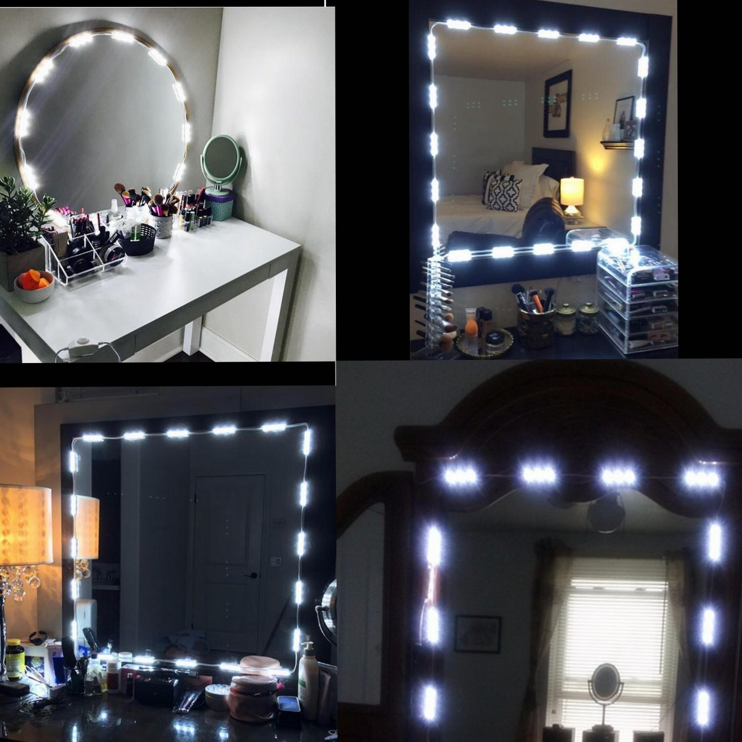 COSOON Vanity Mirror LED Light, DIY Cosmetic Makeup Mirror Lamp, 10ft 60 LED Light Kit, for Cosmetic Mirror, Natural White Vanity Lights +Remoter+UL Power Supply (Mirror NOT Included) T016