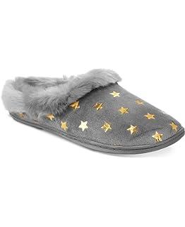 8e377fe262e Charter Club Women s Gray Faux Fur Metallic Star Clogs Slippers Shoes