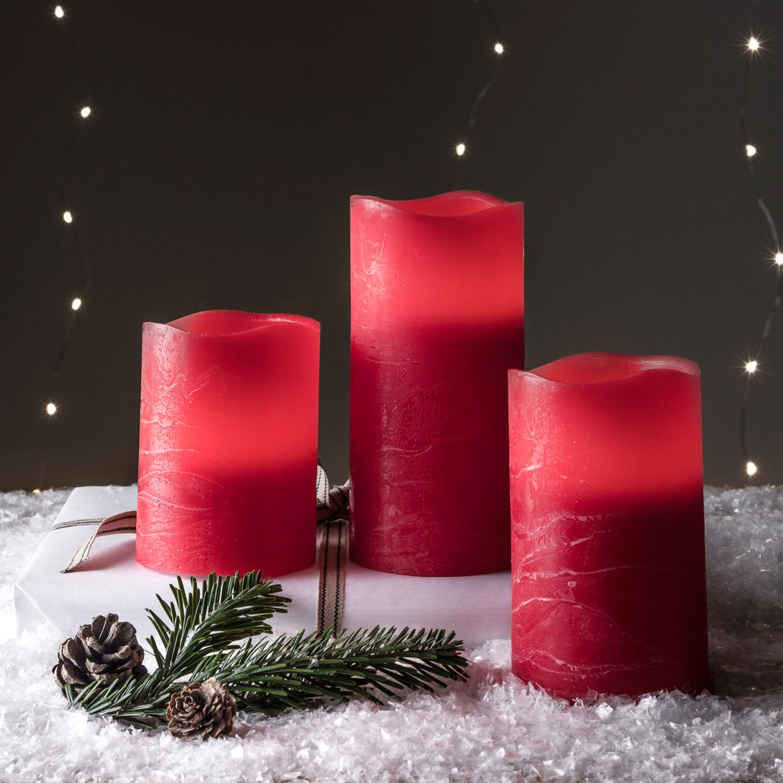 ToCi/ en rojo   /Ø7/x 9/cm con temporizador, sin Llama Vela de cera real, corona de Adviento vela vela de Navidad Decorativa navide/ña /Vela LED de cera