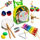 Stoie's 18 pcs Musical Instruments Set for Toddler and Preschool Kids Music Toy - Wooden Percussion Toys for Boys and…