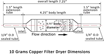 Copper Solder Filter Drier 25 grams w//Silica with Access Valve 1//4 inches// 3 pcs