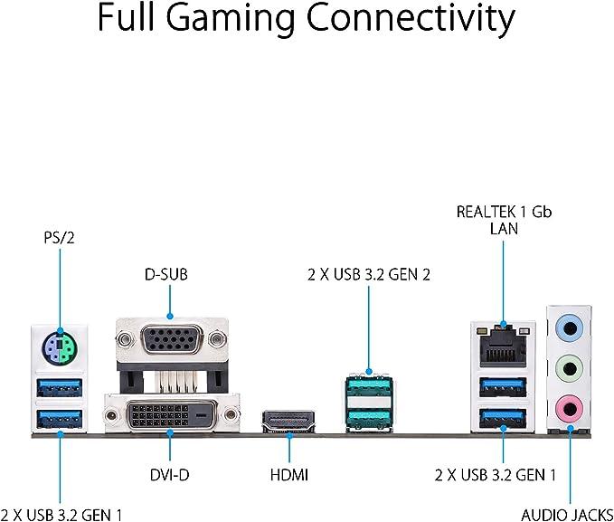 ASUS Prime B550M-K - Placa Base mATX AMD Ryzen AM4 con 4 x DIMM, Dual M.2, PCIe 4.0, 1 GB LAN Ethernet, HDMI/D-Sub/DVI, SATA 6 Gbps, USB 3.2 Gen 2 Type-A +