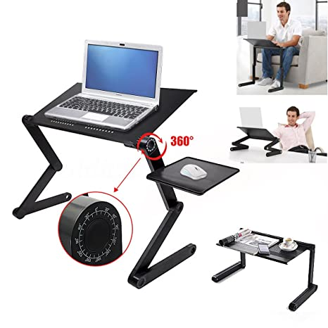 Lapdesks Large Laptop Cooling Table Sofa Desk Stand Folding Multi Angle Legs 360 Rolling Adjustable Folding Notebook Table Computer & Office