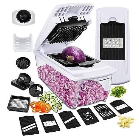 Godmorn Mandolina Verduras13 en 1 ,Slicer de Cocina Ralladores y Cortadores Manuales,Cortador de Patatas Acero Inoxidable Utensilios de Cocina ...