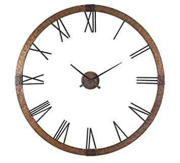 Amazoncom Hammered Copper Oversize Wall Clock Contemporary