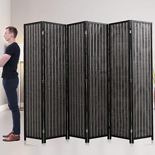 Room Divider Privacy Screen Folding 6 Panel 72 Inches High Portable Room Seperating Divider, Handwork Bamboo Mesh Woven Design Room Divider Wall, Room Partitions and Dividers Freestanding, Black