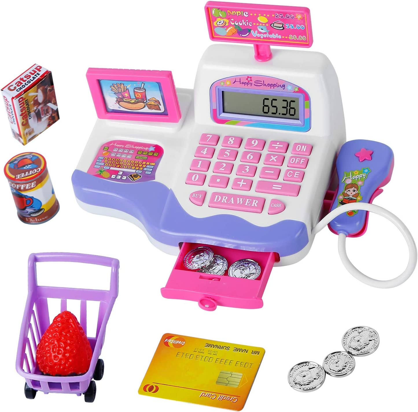 Tudaymol Children's Cash Register Toys with calculators, scanners, Food, Pretending Credit Cards and Shopping carts, Cash Register for Kids can Bring More Fun to Children. Learning, Role-Playin。