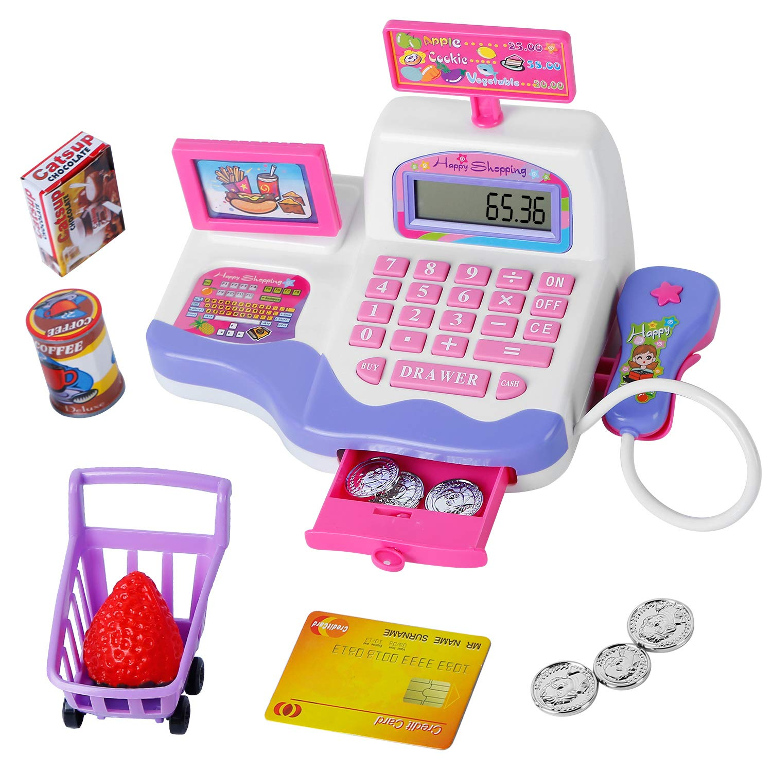 Tudaymol Childrens Cash Register Toys with calculators scanners Food Pretending Credit Cards