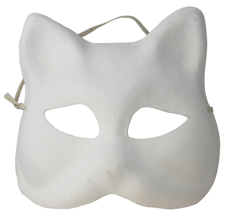Artemio - Maschera da gatto, in gesso, da decorare 14030005