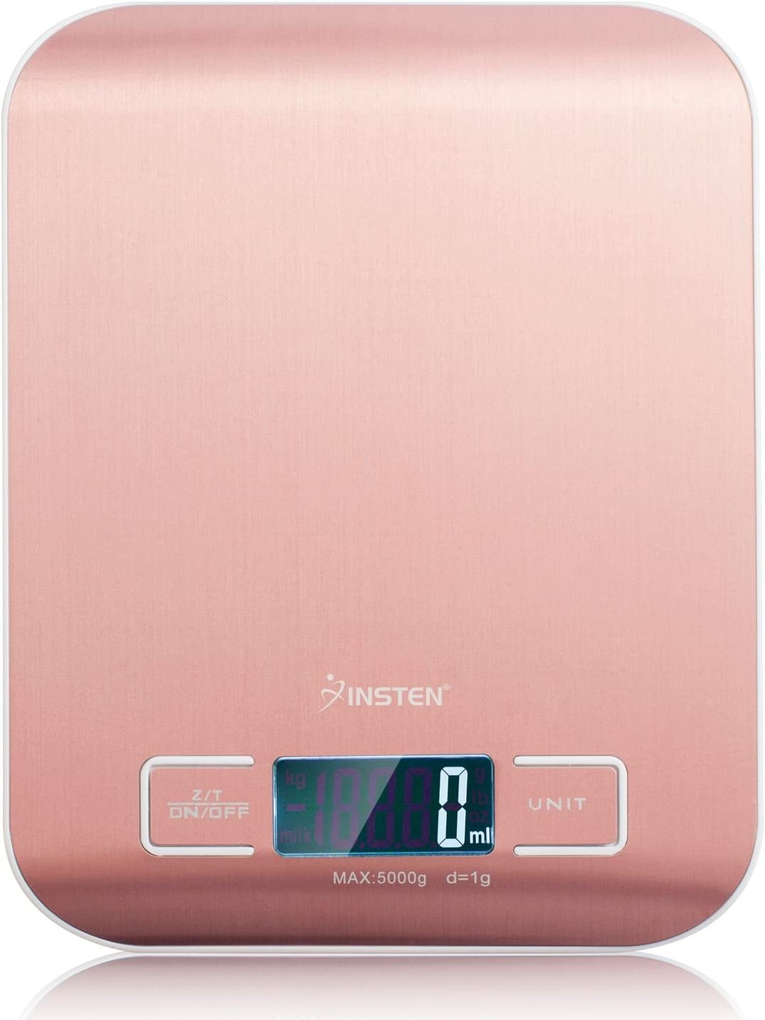 Insten Digital Kitchen Scale, Rose Gold Water Resistant Stainless Steel Surface, LCD Display, Precise Food Scale 0g to 5000g [11 lb/5 kg] [from 0.04 oz] for Cooking, Baking, Home, Office, Postage