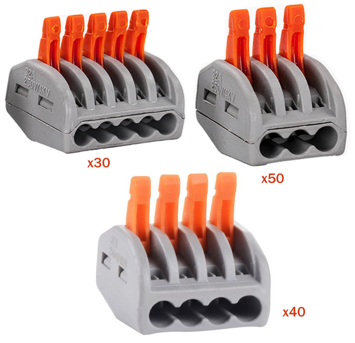 HIFROM Wire Compact Connectors 3 4 5 Port Lever-Nut Lever Conductor PCT-213 PCT-214 PCT-215 Terminal Block Wire Push Cable Connector for Junction Box Assortment Pack (120 PCS)