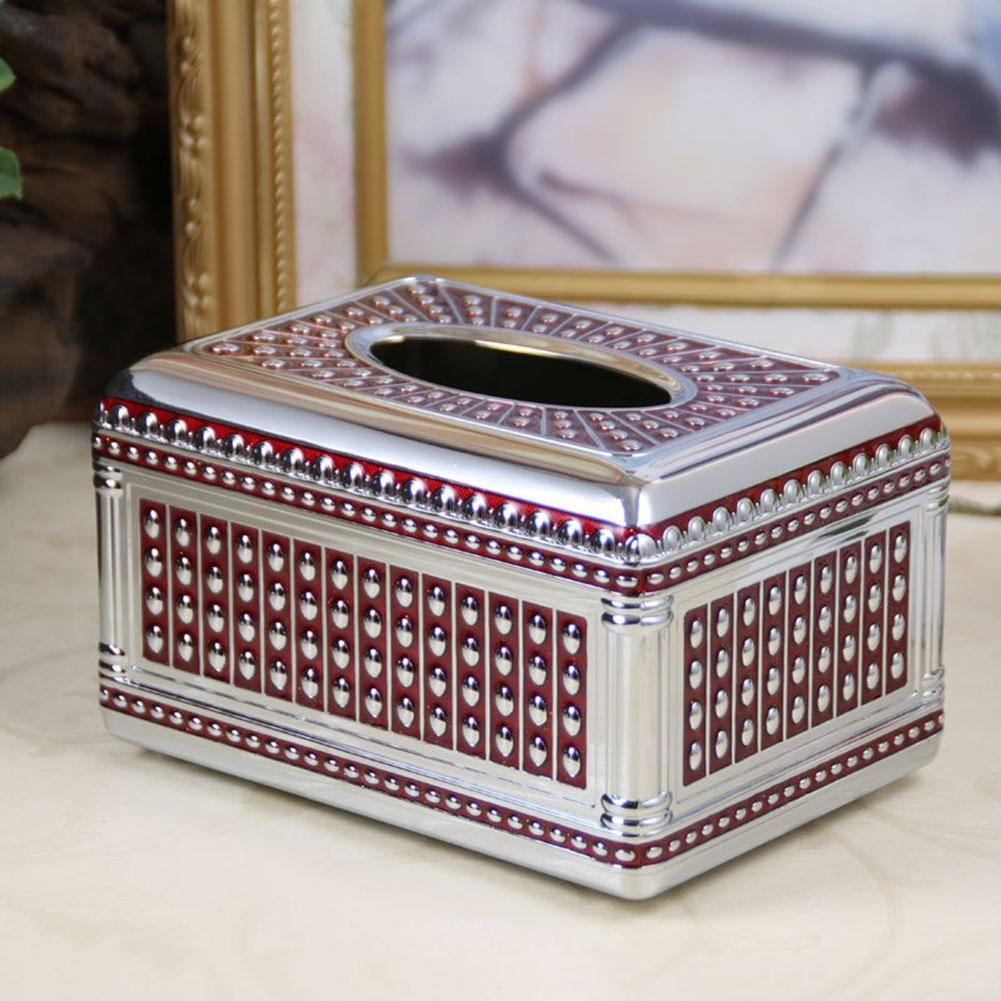 Retro Upscale Zinc Alloy Tissue Box Holder Cover for Home Office Car Ornaments