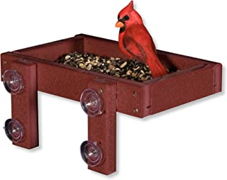 product image for DutchCrafters Eco-Friendly Poly Window Mount Tray Bird Feeder (Cherry Wood)