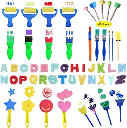 Brushes Only 48pcs Kids Art /& Craft Early Learning Painting Sponges Stamper Mini Paint Brushes Kit with 26 English Alphabets Drawing Tools
