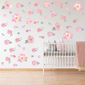 Outus Watercolor Floral Wall Decal Pink Flowers Wall Sticker Wall Decor for Living Room Bedroom Blooming Peony Floral Wall Art Wedding Party Decorations