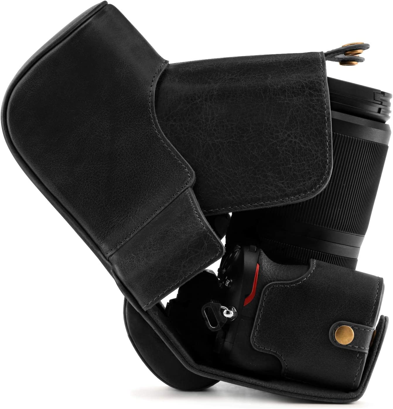 MegaGear Ever Ready Genuine Leather Camera Case Compatible with Nikon Z50 50-250mm