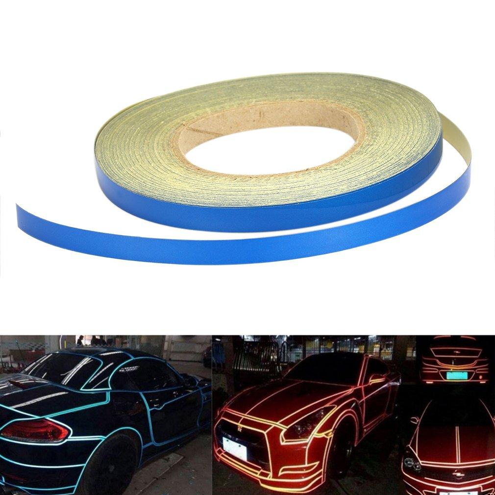 QEUhang 10mm X 45m Reflektierendes Auto Motorrad Zierstreifen Klebeband Reflexfolie Nacht Reflektor Streifen Tape Folie Aufkleber fü r Auto, Boot, Motorrad und Modellbau (Blau)