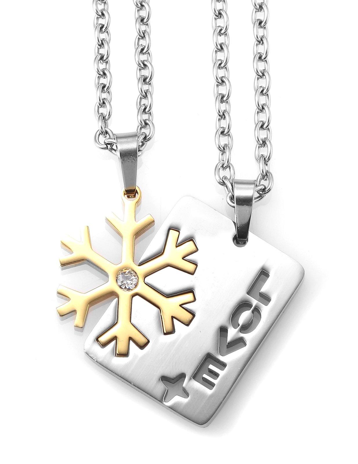 AgentX AAP148 Unisex Stainless Steel Golden Silver Snowflake Love Valentine Couple Pendants Necklace