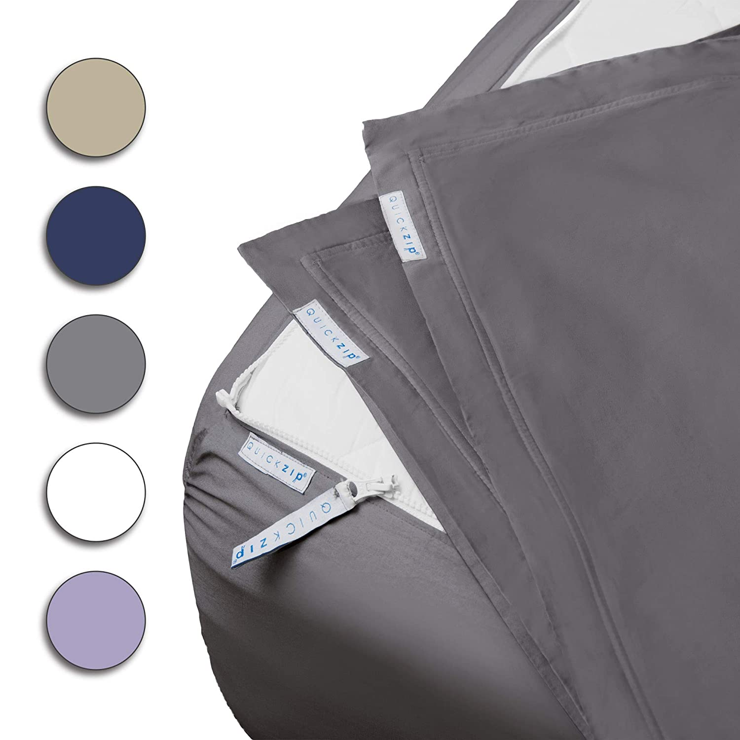 """QuickZip Fitted Sheet - Includes 1 Fitted Sheet Base & 2 Zip-On Sheets - Easy to Change, Fold & Wash - Soft Sateen 400 TC Cotton Fitted Sheets - 16"""" Deep Pockets Queen Size Sheets – Slate Gray"""