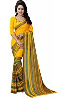 Ishin Women's With Blouse Piece Georgette Saree (Swaya-SpringYellow_Free Size)