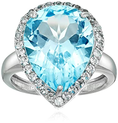 dfd177306 Sterling Silver Pear shape Blue Topaz Ring with White Topaz accents Ring,  Size 5