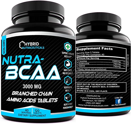 Nutra BCAA 2 1 1 3000 mg PreWorkout PostWorkout Supplement Pills, Amino Acids Supplements, Endurance, Recovery, Performance, Post Workout Recovery, Non-GMO 120 Tablets