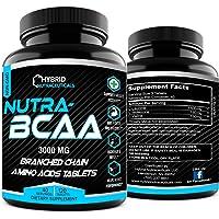 Nutra BCAA 2:1:1 3000 mg PreWorkout PostWorkout Supplement Pills, Amino Acids Supplements...