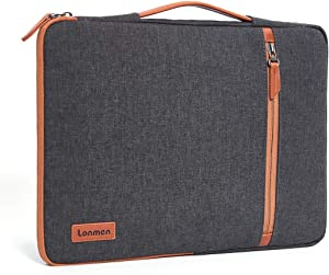 """LONMEN 14 Inch Laptop Sleeve Case Notebook Bag Water-Resistant Handbag Compatible with 14"""" Lenovo Chromebook S330/ThinkPad A485 T480s/HP ProBook 640 645 G4/Acer Swift 5 7/Dell Inspiron 3490,Brown"""