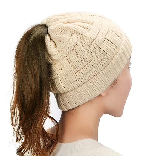 Dafunna Womens Ponytail Beanie Hat Soft Stretchy Cable Knit BeanieTail Warm  Winter Hat for Messy Bun Ponytail Hole Beige at Amazon Women s Clothing  store  8ec68163ac5