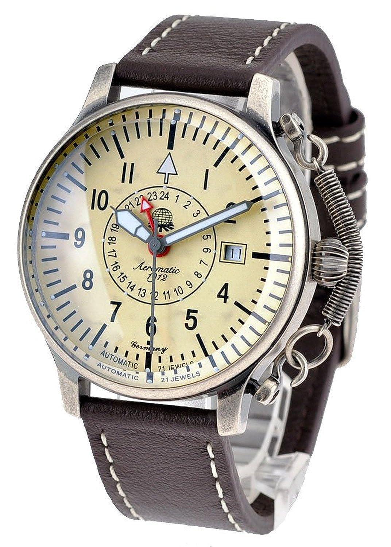 Retro Uhr mit Automatik Werk 24h Anzeige Spez. Feder-Kronensicherung Modell A1387