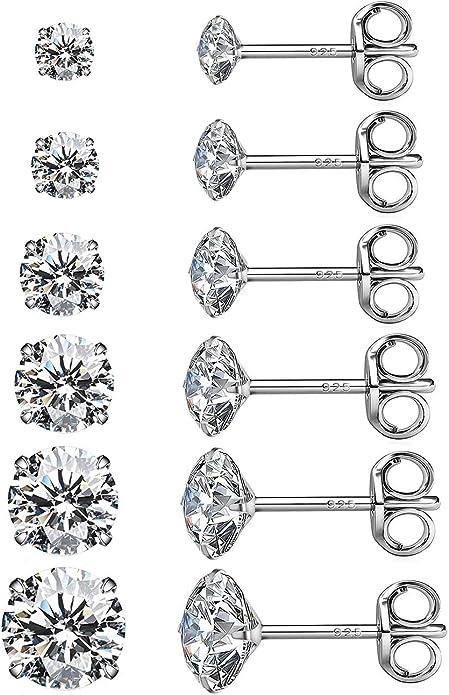 925 Silver Princess Cut Cubic Zirconia Stud Earrings Pack Hypoallergenic Earrings Studs for Men Girl Gifts 3//4//5//6mm 4 Pairs Sterling Silver Stud Earrings Set for Women