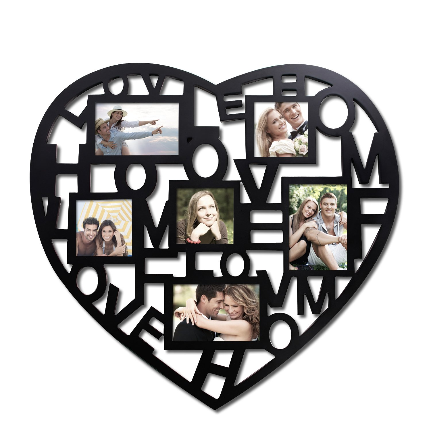 adeco pf0243 6opening black wooden wall hanging collage photo picture frames stylish heart shape amazoncouk kitchen u0026 home