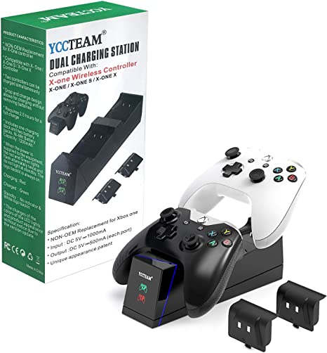 YCCSKY - Cargador de mando para Xbox One y Xbox One S/One X/One Elite con batería recargable de 1200 mAh para dos mandos inalámbricos Xbox, color negro: Amazon.es: Videojuegos
