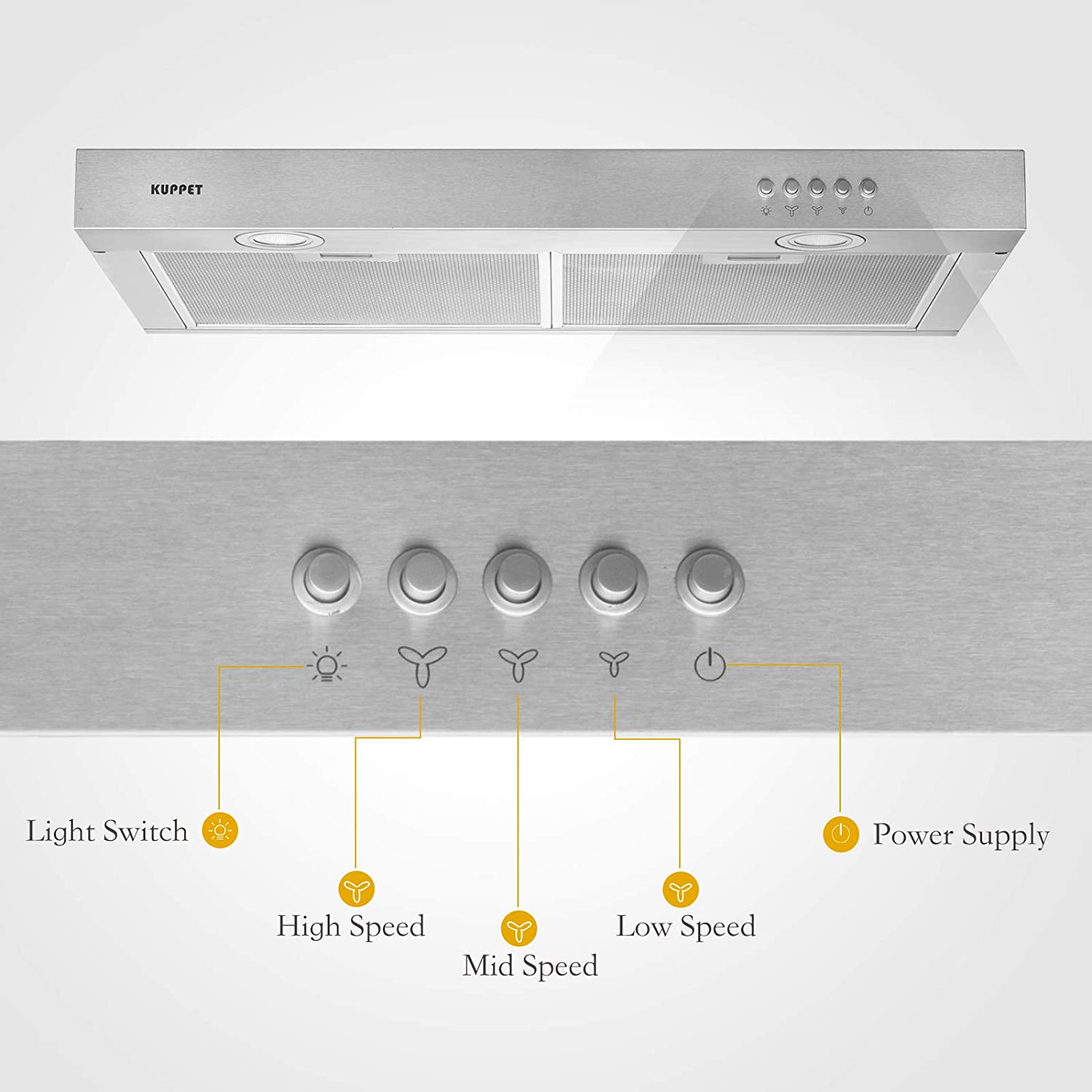 Push Button 3 Speed Controls Tempered Glass with High-End LED Lights KUPPET CE53 Kitchen Bath Collection 30 Under Cabinet Range Hood Aluminum Mesh Filter Silver Stainless Steel