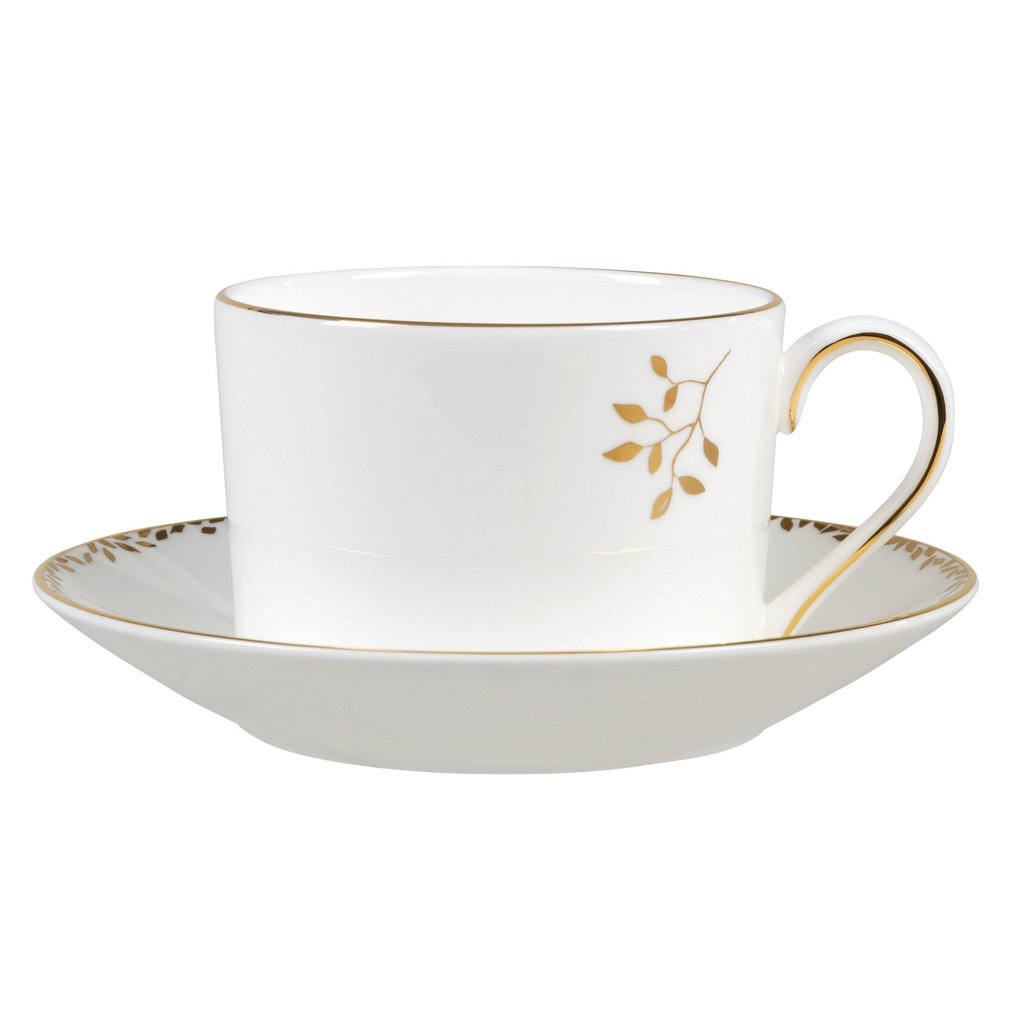 Wedgwood Gilded Leaf Tea Saucer Imperial, White