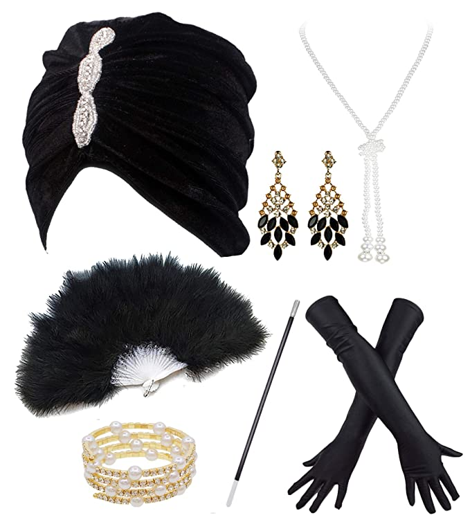 1920s Style Hats Vintage Lurex Knit Turban Beanie Hats w/ 20s Set for 1920s Cocktail Party $15.95 AT vintagedancer.com