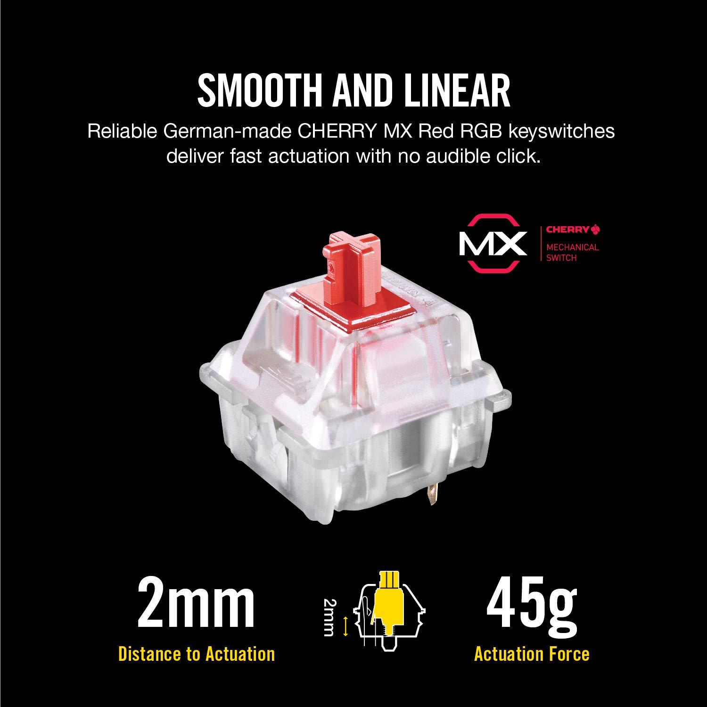 CORSAIR K70 RGB MK 2 Mechanical Gaming Keyboard - USB Passthrough & Media  Controls - Linear & Quiet - Cherry MX Red - RGB LED Backlit
