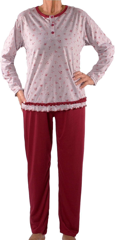 Seniorenmode24 Damen Senioren Oma Schlafanzug Gr/ö/ße 34 bis 60 mit Blumen kuschelig weich aus Baumwolle Hose mit Gummizug ideal f/ür pflegebed/ürftige Omas einfach anzuziehen und super pflegeleicht