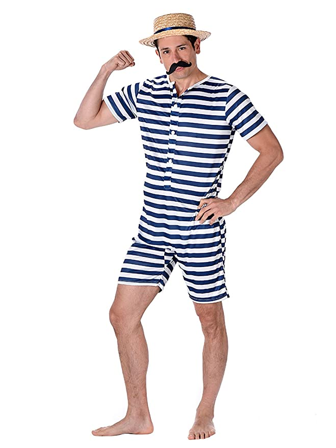 1920s Men's Fashion UK | Peaky Blinders Clothing Karnival 82100 Male Old Time Bathing Suit Costume Men Multi Medium £19.99 AT vintagedancer.com