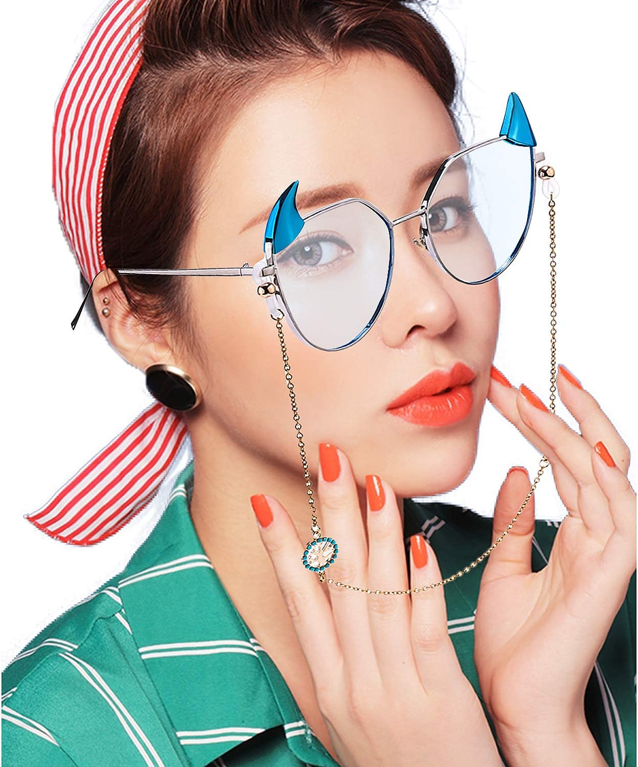 4 Colors 40 Pieces Rubber Adjustable Eyeglass Chain Ends Eyeglasses Strap Holder Spectacle Chain Loops for Eyeglass Chain