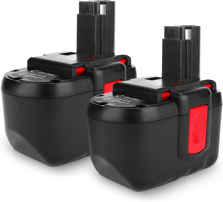 CELLONIC 2X Batería Premium (24V, 3Ah, NiMH) Compatible con Bosch GLI 24 V/GSB 24 / GSB 24 VE-2 Professional/GSR 24 VE-2 Professional - BAT030, BAT031, BAT240 bateria de Repuesto