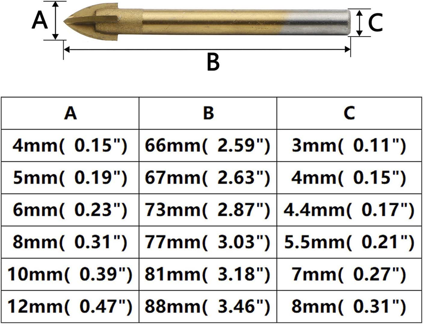 JIUWU 6pcs Cross Spear Head Tile Drill Bits Titanium Coated Glass Hole Opener Round Shank Cutting Tool for Ceramic Tile Marble Mirror and Glass 4mm 5mm 6mm 8mm 10mm 12mm