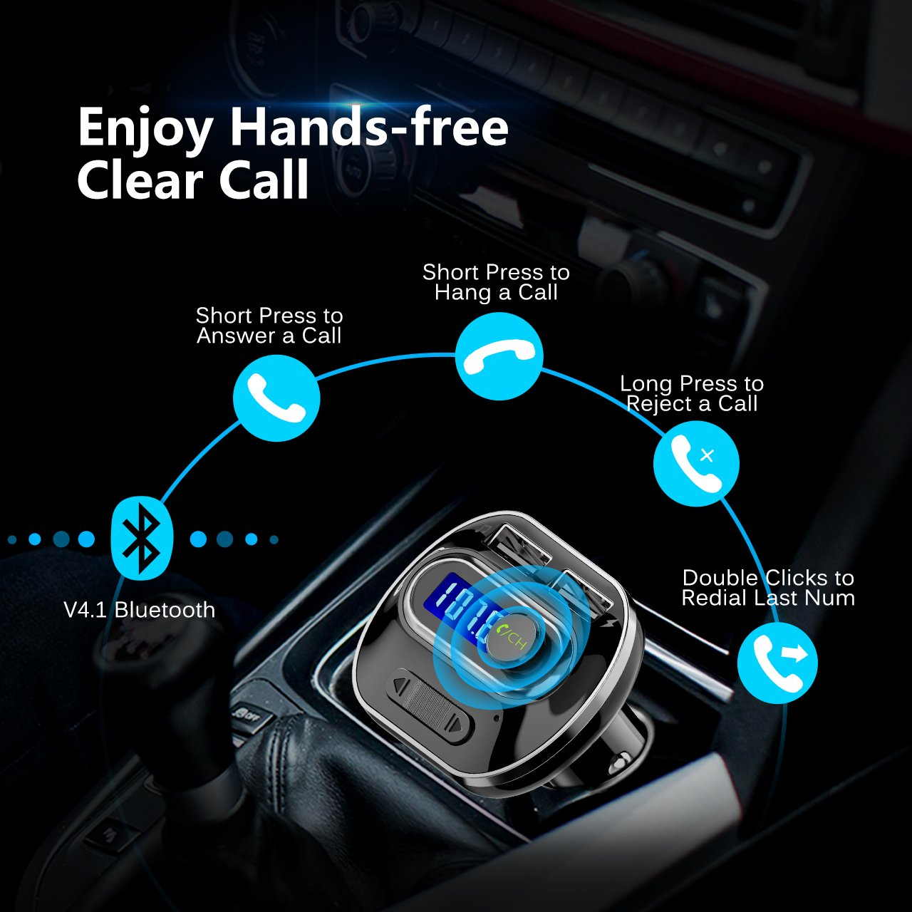 VicTsing (Upgraded Version) V4.1 Bluetooth FM Transmitter for Car, Wireless Radio Transmitter Adapter with Music Player Support Aux Output Input, TF Card and U-Disk, Hands Free and Dual USB Ports by VicTsing (Image #4)