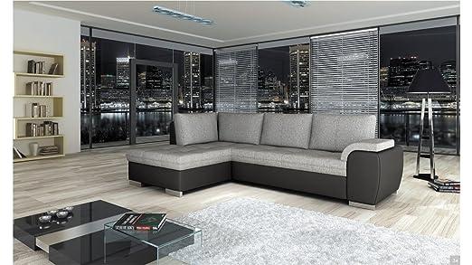 Sofá cama Tokio BMF de cuero marrón del Faux/tela izquierda ...