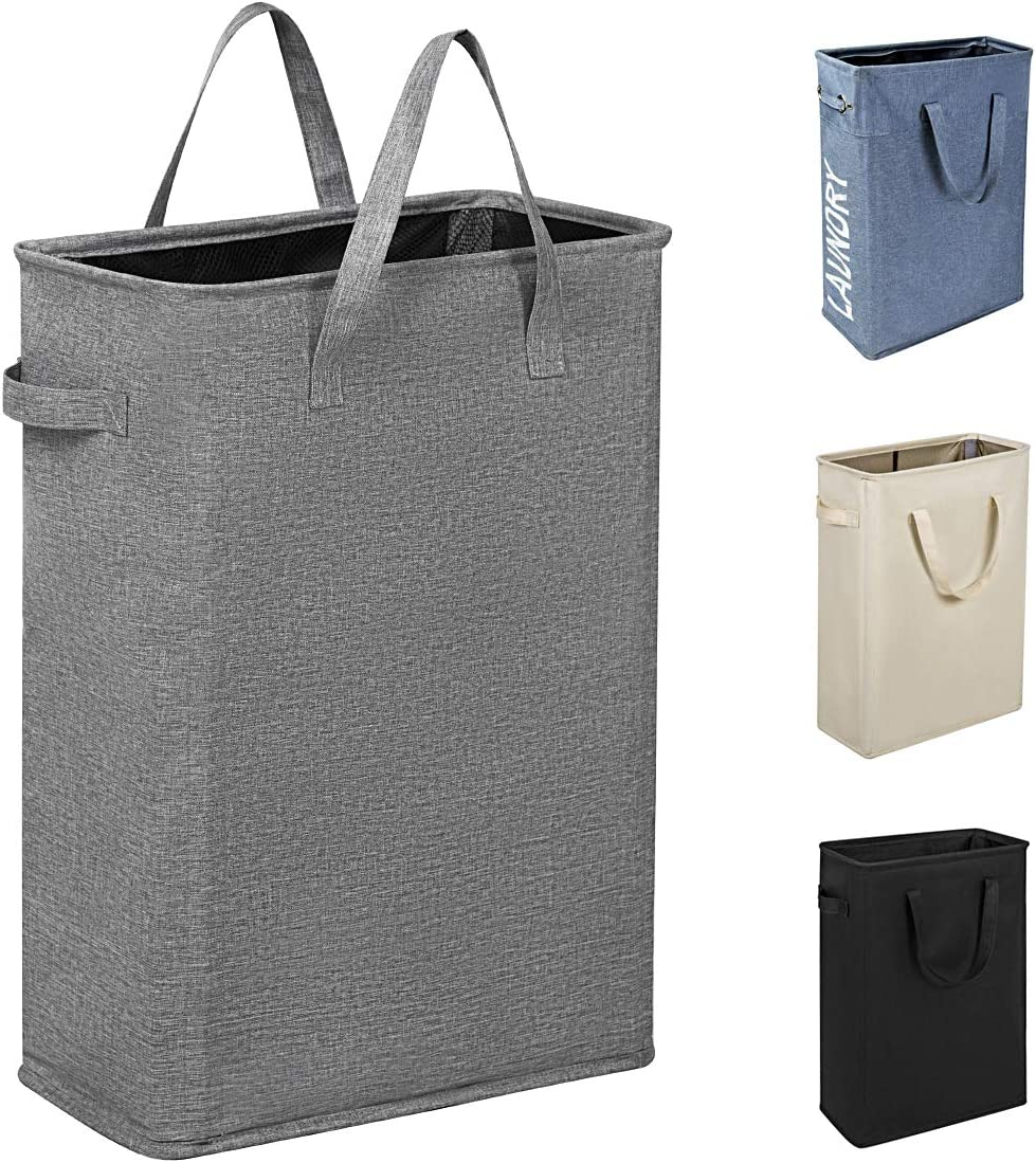 Chrislley 45L Slim Laundry Hamper Small Collapsible Laundry Basket Thin Narrow Laundry Hampers with Handles Dirty Slim Hamper for Laundry(Slim 21 Inches,Upgrade Grey 2)