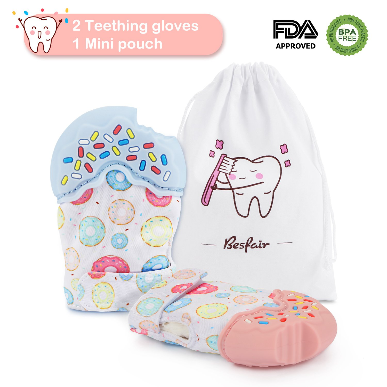 2 Stück Baby Zahnen Handshuhe, Besfair BPA Frei Teething Mitten für Babys (3-18 Monaten), Silikon Zahnen Fäustlinge Schützt Babys Hände von Speichel, mit 1 Beutel, Verstellbarer Riemen